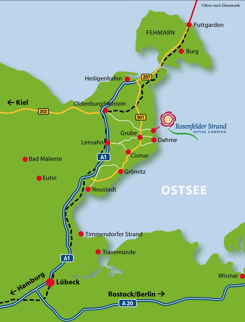 Anreisebeschreibung Rosenfelder Strand Ostsee Camping