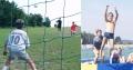 Collage mit Fußball und Wassertrampolin