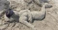 Strandnixe Sandskulptur